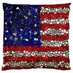 American Flag Mosaic Large Flano Cushion Case (two Sides)