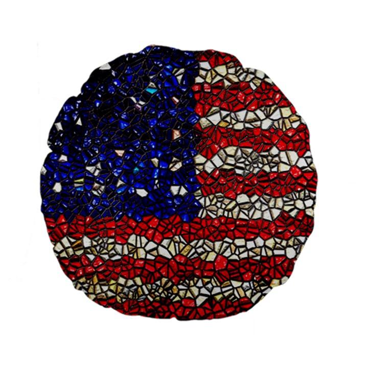 American Flag Mosaic 15  Premium Flano Round Cushion