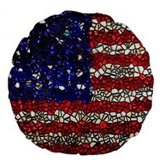 American Flag Mosaic 18  Premium Flano Round Cushion