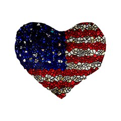 American Flag Mosaic 16  Premium Flano Heart Shape Cushion