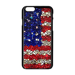 American Flag Mosaic Apple iPhone 6 Black Enamel Case