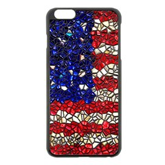 American Flag Mosaic Apple iPhone 6 Plus Black Enamel Case