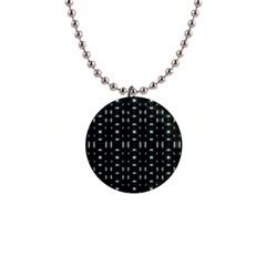 Futuristic Dark Hexagonal Grid Pattern Design Button Necklace