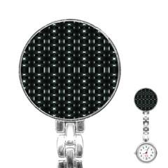 Futuristic Dark Hexagonal Grid Pattern Design Stainless Steel Nurses Watch