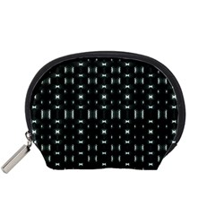 Futuristic Dark Hexagonal Grid Pattern Design Accessory Pouch (small)