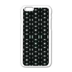 Futuristic Dark Hexagonal Grid Pattern Design Apple Iphone 6 White Enamel Case