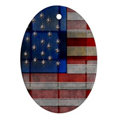 American Flag Quilt Oval Ornament