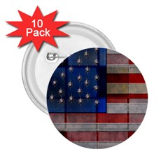 American Flag Quilt 2 25  Button (10 Pack)