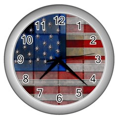 American Flag Quilt Wall Clock (silver)