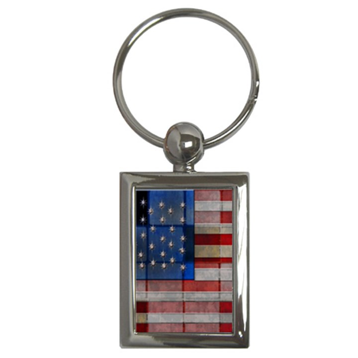 American Flag Quilt Key Chain (Rectangle)