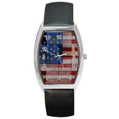 American Flag Quilt Tonneau Leather Watch