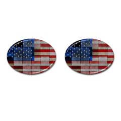 American Flag Quilt Cufflinks (oval)