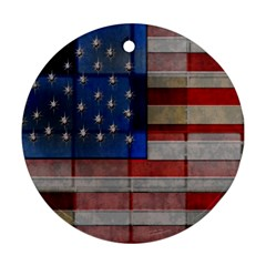 American Flag Quilt Round Ornament (two Sides)