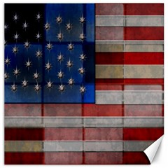 American Flag Quilt Canvas 20  X 20  (unframed)