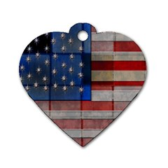 American Flag Quilt Dog Tag Heart (two Sided)