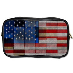 American Flag Quilt Travel Toiletry Bag (two Sides)