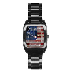 American Flag Quilt Stainless Steel Barrel Watch
