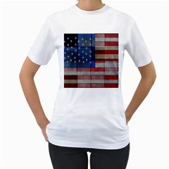 American Flag Quilt Women s T-Shirt (White)