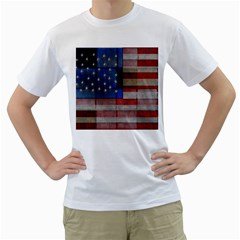 American Flag Quilt Men s T-Shirt (White)