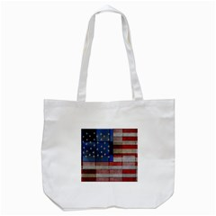American Flag Quilt Tote Bag (white)