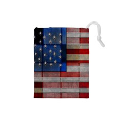 American Flag Quilt Drawstring Pouch (Small)
