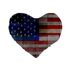 American Flag Quilt 16  Premium Flano Heart Shape Cushion