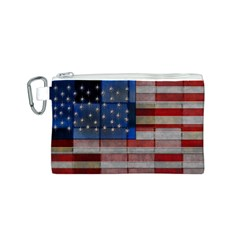 American Flag Quilt Canvas Cosmetic Bag (small)