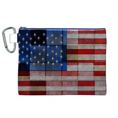 American Flag Quilt Canvas Cosmetic Bag (XL)