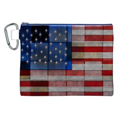 American Flag Quilt Canvas Cosmetic Bag (XXL)