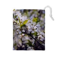 Apple Blossoms Drawstring Pouch (large)