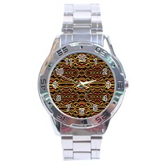 Tribal Art Abstract Pattern Stainless Steel Watch