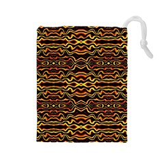 Tribal Art Abstract Pattern Drawstring Pouch (large)