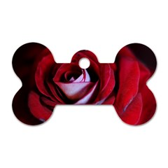 Red Rose Center Dog Tag Bone (two Sided)