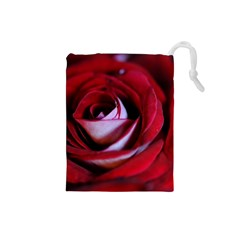 Red Rose Center Drawstring Pouch (Small)