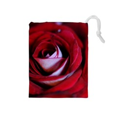 Red Rose Center Drawstring Pouch (Medium)