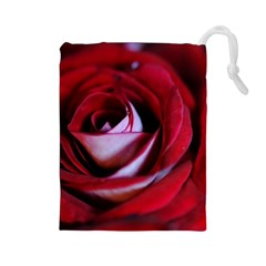 Red Rose Center Drawstring Pouch (large)