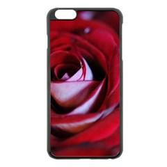 Red Rose Center Apple iPhone 6 Plus Black Enamel Case