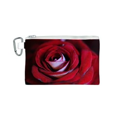 Red Rose Center Canvas Cosmetic Bag (Small)
