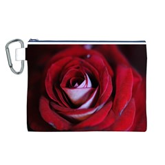 Red Rose Center Canvas Cosmetic Bag (Large)