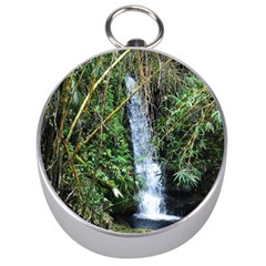 Bamboo Waterfall Silver Compass