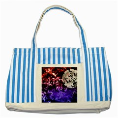 Bokeh Bats In Moonlight Blue Striped Tote Bag