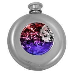 Bokeh Bats In Moonlight Hip Flask (round)