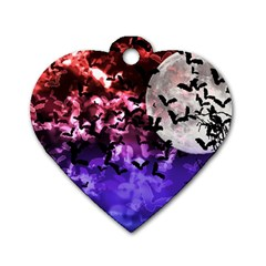 Bokeh Bats In Moonlight Dog Tag Heart (two Sided)
