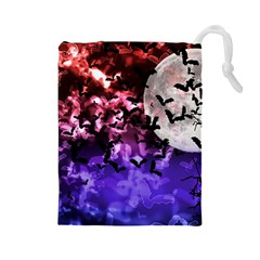 Bokeh Bats in Moonlight Drawstring Pouch (Large)