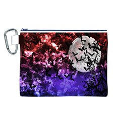 Bokeh Bats in Moonlight Canvas Cosmetic Bag (Large)