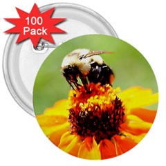Bee On A Flower 3  Button (100 Pack)