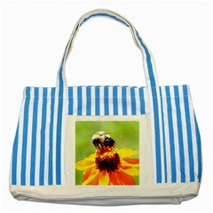 Bee on a Flower Blue Striped Tote Bag