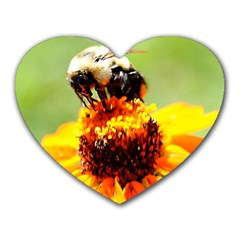 Bee On A Flower Mouse Pad (heart)