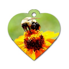 Bee On A Flower Dog Tag Heart (one Sided)