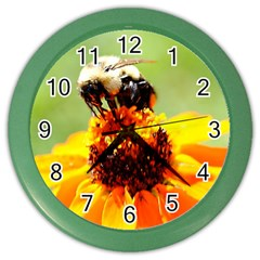 Bee On A Flower Wall Clock (color)